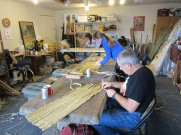 Cattail mat making