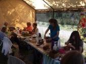 Cedar bark class in outdoor classroom