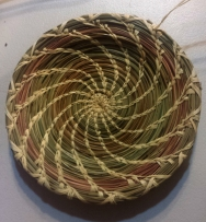 Coil platter pine needle and grass