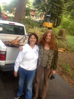 Roberta and I harvesting cedar bark
