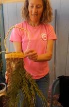 Folded cedar bark basket and bough cordage
