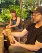 Folded cedar bark basket and diagonal plaiting