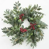 Evergreen wreaths symbolise the seasonal cycle and eternal life, placed on the door it offers protection to the home. Evergreen wreaths impart strength, bay laurel is associated with purification and visions; olive branches peace; grain for abundant harvest.